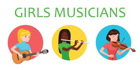 Musicians girls is inspired to play different musical instruments. Violinist, flutist, guitarist. Vector illustration in flat cartoon style in circle on white background for your design, print. Music.