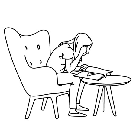 A woman sitting on soft armchair in front of coffee table, reading magazine. Vector illustration of girl closely peering into book. Concept. Sketch. Line art. Black lines on white background