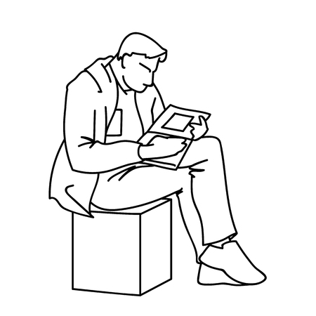 An adult man is reading a book sitting on a cube. Vector illustration of a man gazing intently into a magazine or journal with square art. Concept. Sketch. Linear art. Black lines on white background.
