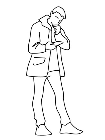 Man in windbreaker standing, attentively looking at mobile phone. Vector illustration of young man checking social networks or watching video. Concept. Black lines on white background.