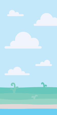 Soft nature landscape with blue sky, shore and some green plants. Coastal scenery. Seaside. Vector illustration in simple minimalistic flat style. Scene for your artwork and design. Vertical 向量圖像