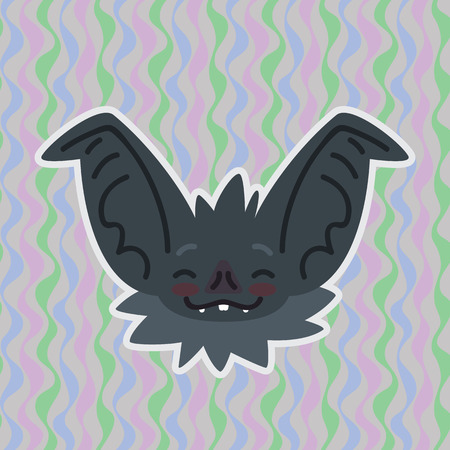 Halloween Bat smiley head got blushed. Vector illustration of bat-eared grey snout with red cheeks shows shy emotion. Blushing emoji. Halloween decoration, print, sticker, chat, communication