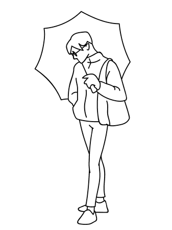 Man standing, holding umbrella in his hand. Black lines isolated on white background. Concept. Vector illustration of man in streetwear and glasses in simple line art style. Monochrome minimalism Ilustração