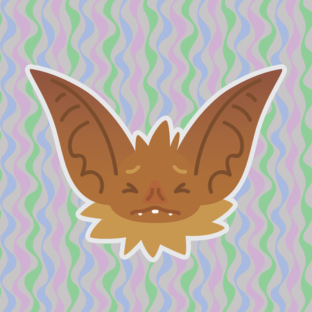 Halloween Bat smiley head got scared with closed eyes. Vector illustration of bat-eared brown snout shows fear emotion. Unhappy emoji. Halloween decoration, print, sticker, chat, communication.