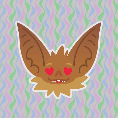 Halloween Bat smiley head with hearts in eyes. In love. Vector illustration of bat-eared brown snout shows enamored emotion. Amorous emoji. Halloween decoration, print, sticker, chat, communication. Çizim