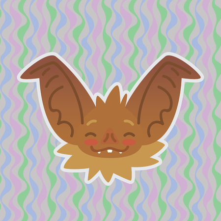 Halloween Bat smiley head got blushed. Vector illustration of bat-eared brown snout with red cheeks shows shy emotion. Blushing emoji. Halloween decoration, print, sticker, chat, communication