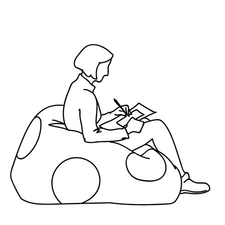 A woman sitting on soft pouf with round decor, drawing square on paper. Vector illustration of girl creating art. Concept. Sketch. Line art. Black lines on white background