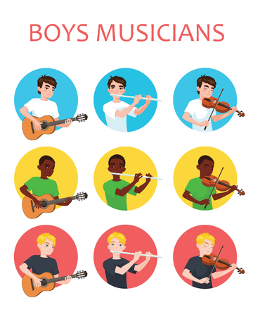 Musicians boys is inspired to play different musical instruments. Violinist, flutist, guitarist. Vector illustration in flat cartoon style in circle on white background for your design, print. Music