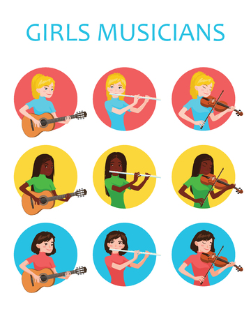Musicians girls is inspired to play different musical instruments. Violinist, flutist, guitarist. Vector illustration in flat cartoon style in circle on white background for your design, print. Music Ilustração