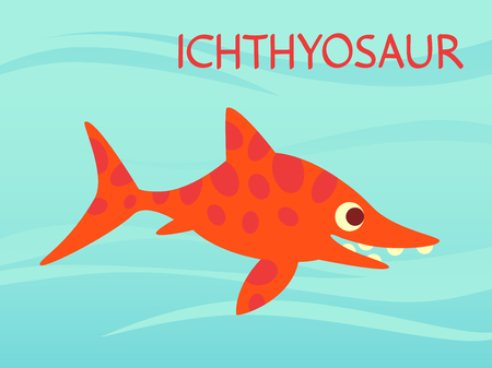 Cute Ichthyosaur swimming. Dinosaur life. Vector illustration of prehistoric character in flat cartoon style isolated on underwater background. Funny orange Ichthyosaurus. Element for design