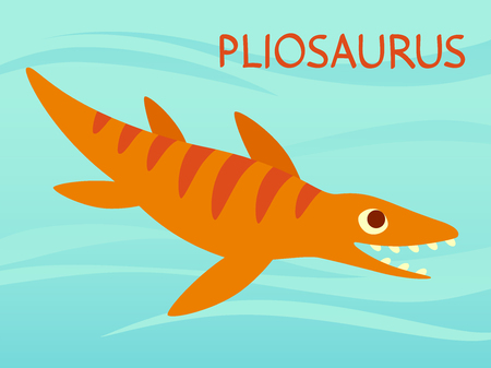 Cute Pliosaur swimming. Dinosaur life. Vector illustration of prehistoric character in flat cartoon style isolated on underwater background. Funny orange Mosasaurus. Element for design. Kronosaurus Ilustração