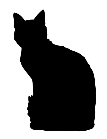 Cute cat sitting. Iillustration of black silhouette of kitty on white background. Element for your design, print, sticker. Shadow.