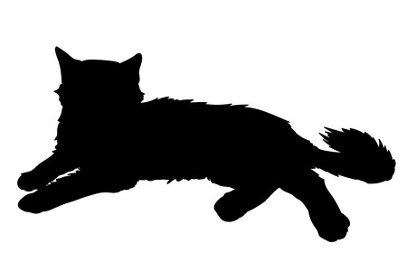 Cute fluffy cat lays. Vector illustration of black silhouette of kitty isolated on white background. Element for your design, print, sticker.