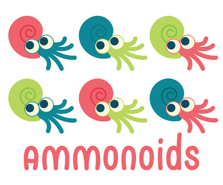 Cute Ammonoids. Vector illustration of prehistoric character in flat cartoon style isolated on white background. Funny Ammonite with big eyes in spiral shell. Element for design. Variants of coloring
