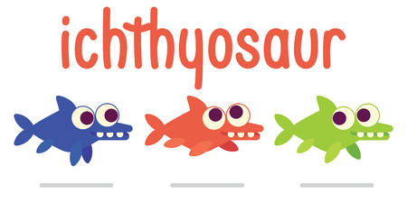 Cute Ichthyosaur swimming. Dinosaur life. Vector illustration of prehistoric character in flat cartoon style on white background. Funny Ichthyosaurus with big eyes. Variants of coloring. Element for design.