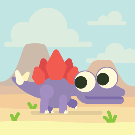 Cute Stegosaurus in valley of the volcanoes. Dinosaur life. Vector illustration of prehistoric character in flat cartoon style isolated on landscape background. Funny violet Stegosaur with big eyes. Element for design. Illustration