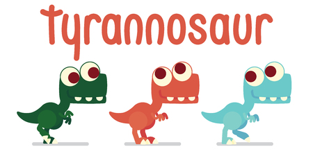 Cute T-Rex walking. Dinosaur life. Vector illustration of prehistoric character in flat cartoon style isolated on white background. Funny Tyrannosaurus with big eyes. Variants of coloring. Element for design. Çizim