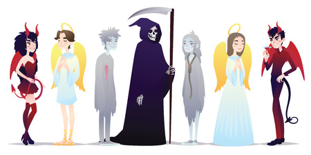 Halloween characters in cartoon style. Vector illustration of group of young people dressed up for Halloween masquerade party on white background. Angels and Deamons, Death and Chosts. Halloween costumes.