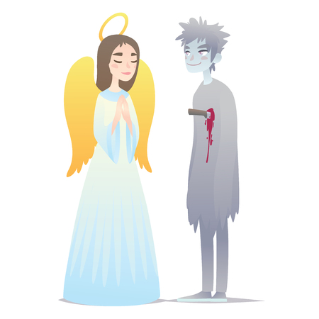 Couple of Halloween characters in cartoon style. Vector illustration of boy in costume of Ghost and girl in costume of Angel dressed up for Halloween masquerade party on white background. Halloween costumes.