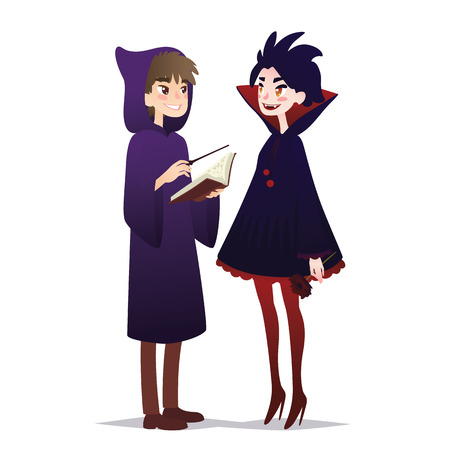 Couple of Halloween characters in cartoon style. Vector illustration of boy in costume of Wizard and girl in costume of Vampire dressed up for Halloween masquerade party on white background. Halloween costumes.