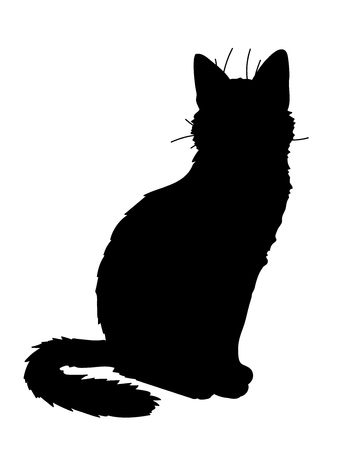 Cute realistic cat sitting. Vector illustration of silhouette of kitty. Black figure on white background. Element for your design, print, sticker. Fluffy black cat.