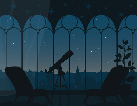Panoramic view from room through arched windows to evening starry sky of town. Vector illustration of interior with telescope and city landscape. Astronomical observation. Scene for your design.