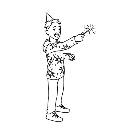 Cute boy in festive cup and hoodie with stars holds sparkler Black lines isolated on white background. Concept. Vector illustration of happy little boy with magic wand in simple line art style.