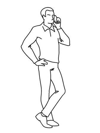 Man standing and talking on the phone. Front view. Monochrome vector illustration of adult man in shirt calling by phone in simple line art style. Black lines isolated on white background. Concept Çizim