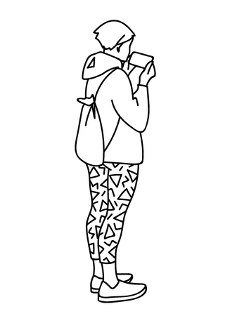 Teenage girl with backpack standing, attentively looking at mobile phone. Vector illustration of young woman checking social networks or watching video. Concept. Black lines on white background Çizim