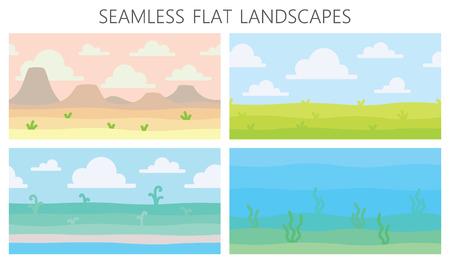 Miękkie krajobrazy przyrody. Pustynia z górami, pole zielone lato, wybrzeże, rośliny, podwodny widok z wodorostami. Ilustracja wektorowa poziomych krajobrazów bez szwu w prostym, minimalistycznym stylu płaskiej