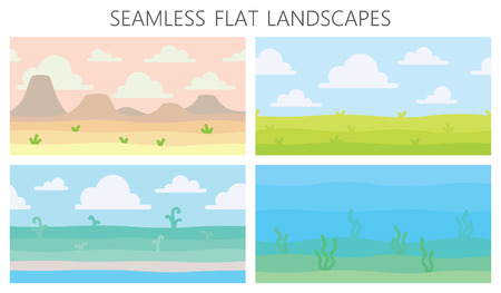 Paesaggi naturali morbidi. Deserto con montagne, campo estivo verde, costa, piante, vista subacquea con alghe. Illustrazione vettoriale di paesaggi senza soluzione di continuità orizzontale in semplice stile piatto minimalista