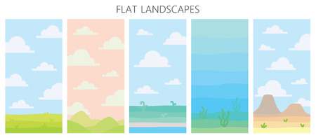 Soft nature landscapes. Desert with mountains, green summer field, coast with plants, underwater view with seaweed. Vector illustration of vertical landscapes in simple minimalistic flat style. Scene Çizim