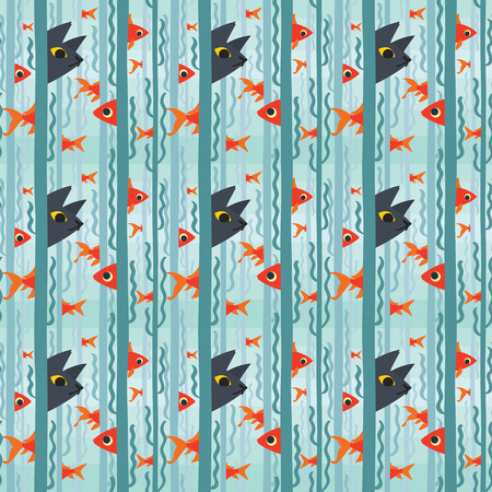 Seamless pattern. Curious kitty watching aquarium fish swimming among seaweed. Vector illustration of kitty hunting fish in flat style. Element for your design, card, print, textile, wrapping