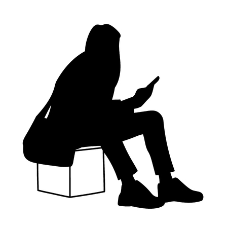 Woman sitting on box, looking at mobile phone. Vector illustration of black silhouette of girl checking social networks isolated on white background. Concept. Stencil. Virtual communication