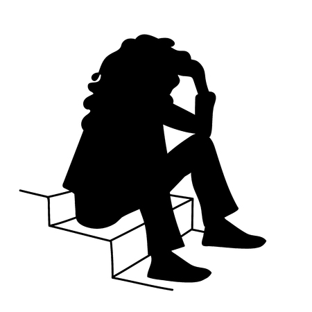 Woman with curly hair sitting on stairs. Stencil. Vector illustration of black silhouette of sitting girl isolated on white background. Student. Concept. Monochromous minimalism.