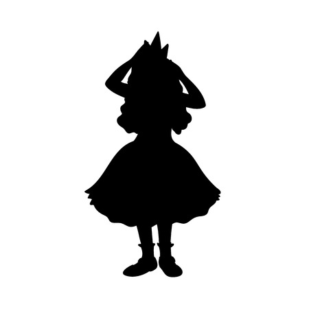 Little girl in festive dress corrects crown. Black silhouette isolated on white background. Concept. Vector illustration of little princess. Stencil. Monochrome minimalism.