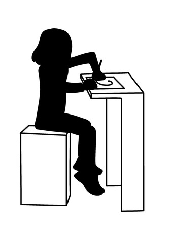 Little girl sitting at table and drawing or writing on list of paper. Black silhouette isolated on white background. Vector illustration of little girl. Monochromatic minimalism. Stencil. Çizim
