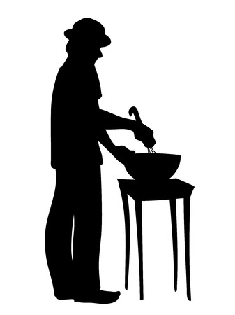 Man in hat prepares food. Guy standing, stirring ingredients in bowl. Vector illustration of black silhouette of man cooks cookies isolated on white background. Stencil. Concept. Ilustração