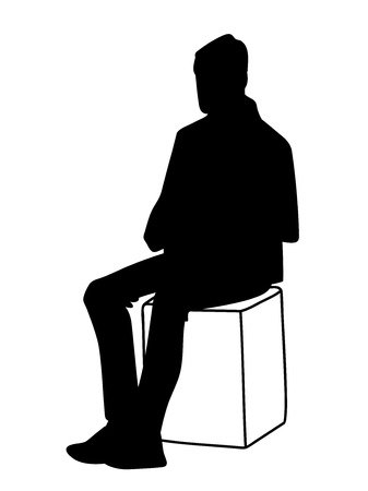 Man sitting on box. Stencil. Vector illustration of black silhouette of man isolated on white background. Concept. Monochromatic minimalism.