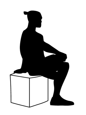 Man sitting on box with one foot up on knee. Stencil. Concept. Vector illustration black silhouette of man isolated on white background. Monochromatic minimalism. Ilustração