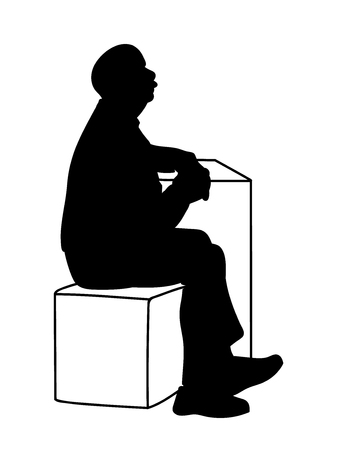 Old man crossing his hands, sitting on box and leaning on table. Stencil. Vector illustration of black silhouette of old man isolated on white background. Concept. Monochromatic minimalism. Ilustração