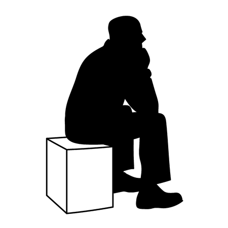 Man sitting on box. Black silhouette isolated on white background. Concept. Vector illustration of old man sitting on cube putting elbows on his knees. Stencil. Monochrome minimalism.