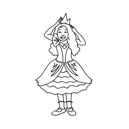 Cute girl in festive dress corrects crown. Black lines isolated on white background. Concept. Vector illustration of happy little princess in line art style. Hand drawn sketch. Monochrome minimalism