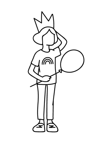 Little girl in crown with balloon in her hand. Black lines isolated on white background. Concept. Vector illustration of little girl in simple line art style. Monochromatic hand drawn sketch Ilustração