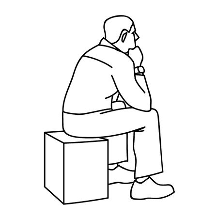 Man sitting on box. View from the back. Black lines isolated on white background. Concept. Vector illustration of old man sitting on cube putting elbows on his knees in simple sketch style. Çizim