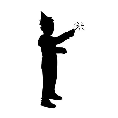 Little boy in festive cup holds sparkler in his hand. Black silhouette isolated on white background. Concept. Vector illustration of boy with magic wand. Stencil. Monochrome minimalism Çizim