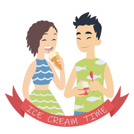 Couple with ice cream. Vector illustration of multicultural pair on white background. Asian boy with hand-packed portion of ice cream and european girl licking ice cream in cone. Flat cartoon style
