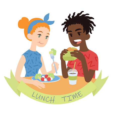 Couple eating. Vector illustration of multicultural pair in flat cartoon style on white background. African boy biting burger and european girl eating fresh salad. Romantic lunch Çizim