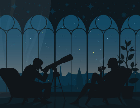 Watching stars at home. Vector illustration of interior of room with two armchairs, man looking through telescope, woman with cup of tea, panoramic view from arched windows to night starry sky of town