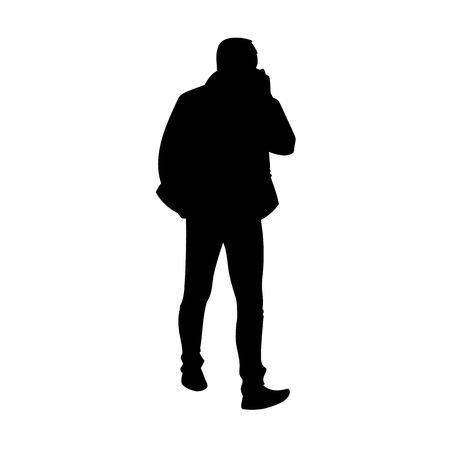 Adult man in jacket walking. Black silhouette isolated on white background. Front view. Monochrome vector illustration of man taking a walk and talking on the phone. Concept